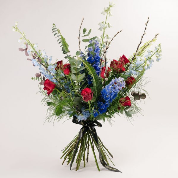 Red Roses and Blue Delphinium