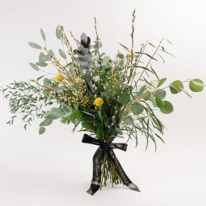 eucalyptus with pussy willow and craspedia bouquet