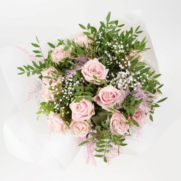 Dozen Baby Pink Roses & Baby Breath - Flower Delivery Barnet and North London 28