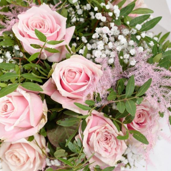Dozen Baby Pink Roses & Baby Breath - Flower Delivery Barnet and North London 30