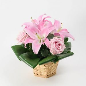 Same Day Flower Delivery Hampstead - Pink Lily Flower Basket Arrangement by YFS North London (1)