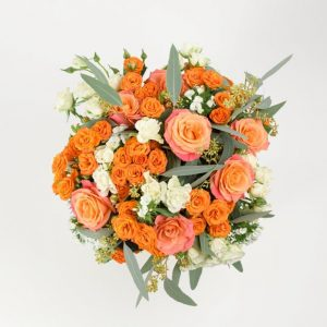 White & Orange Roses Flower Bouquet by Your Flower Story - Flower Shop in Barnet North London (1)